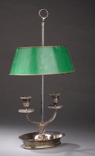 Lampe de bouillotte ovale en métal argenté,...