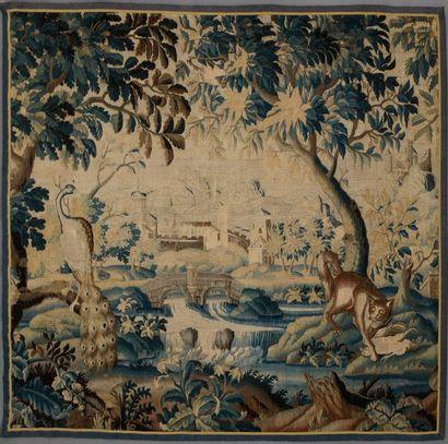 Manufacture d'AUBUSSON. Fragment de tapisserie...