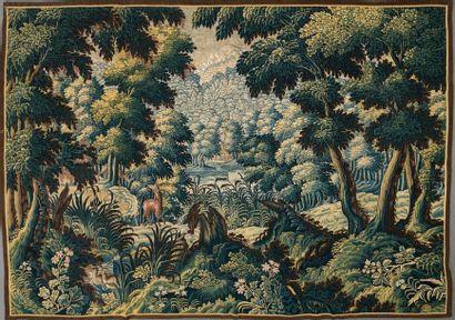 Panneau de fine tapisserie en laine et soie,...