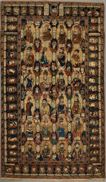 Fin tapis Sarouk -Farahan en velours de laine...