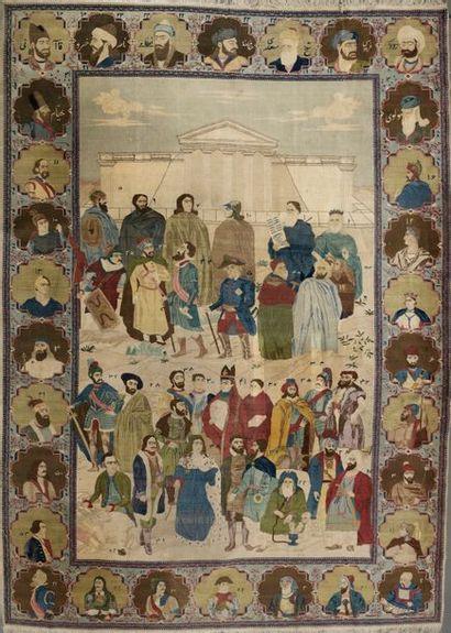 Important tapis Tabriz en velours de laine...