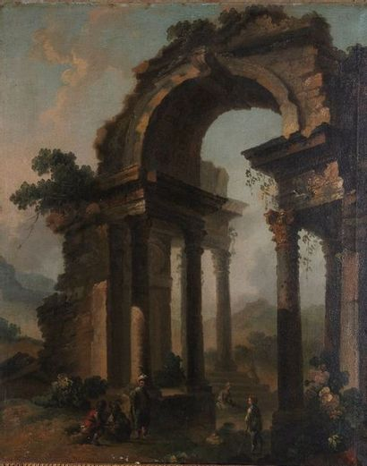 École romaine du XVIIIe siècle. Personnages...