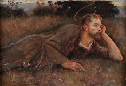 Jules Alexis MUENIER (Lyon, 1863- Coulevon, 1942). Saint méditant allongé dans l'herbe....