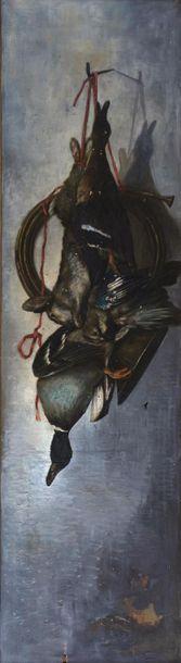 JC. OLOMOX (XIXe siècle). Nature morte au colvert, geai, canne, lapin et trompe...