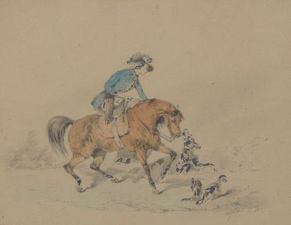 Alfred de DREUX (Paris, 1810 - 1860). Cavalière...