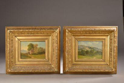 Horace FONVILLE (Lyon, 1832 - Matagna, 1914). Paysages de ferme des Alpilles. Paire...