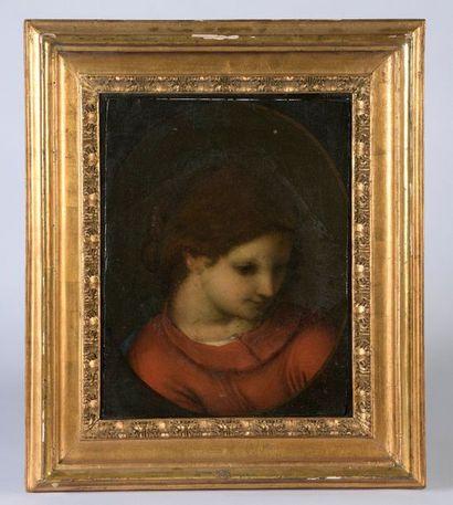 École émilienne vers 1530, entourage de CORRÈGE. Vierge de profil. Toile (ou papier...