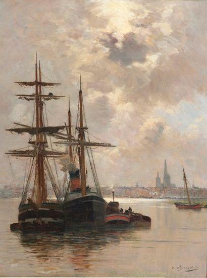 Charles LAPOSTOLET (Velars-sur-Ouche, 1824 - Domène, 1890). Bateaux au mouillage...