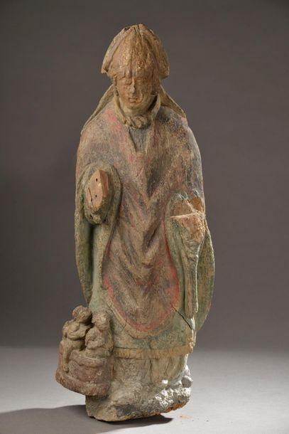 Saint Nicolas en bois sculpté et polychromé...