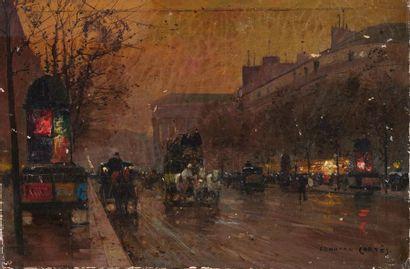 Édouard CORTÈS (Lagny-sur-marne, 1882 - 1969). Boulevard de la Madeleine. Huile...