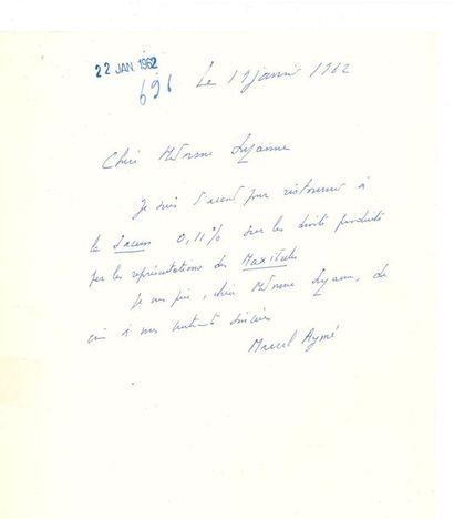 *Marcel AYMÉ (1902-1967). 3 L.A.S., 1962-1965,...