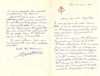 *Auguste BARTHOLDI. L.A.S., Paris 8 novembre...