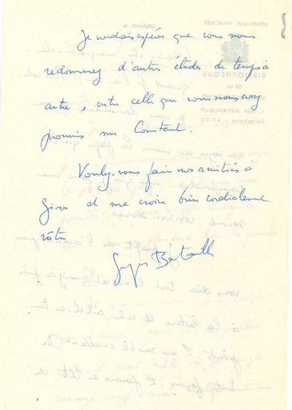 *Georges BATAILLE (1897-1962). L.A.S., Orléans...
