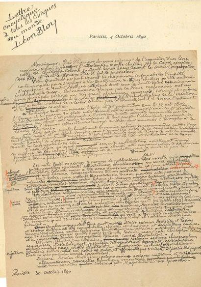 *Léon BLOY (1846-1917). L.A.S. et manuscrit...