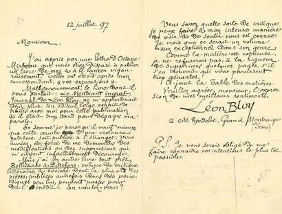 *Léon BLOY. L.A.S., 12 juillet 1897, [à Pierre-Victor...