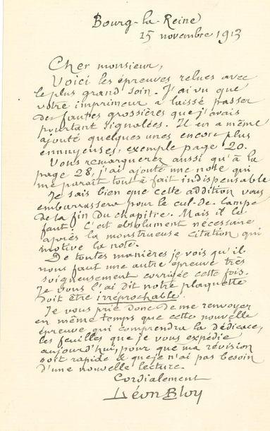 *Léon BLOY. L.A.S., Bourg-la-Reine, 15 novembre...