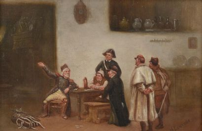 H. LANTURE (XIXe siècle). Le colporteur. Huile sur panneau signée en bas à droite....