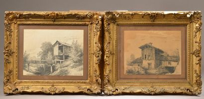 HUBERT (XIXe siècle). Masures. Paire de dessins...