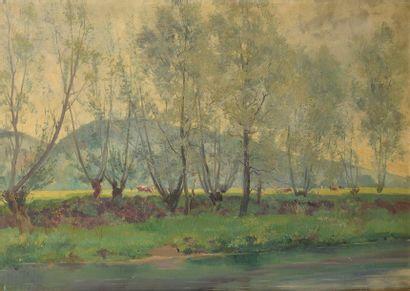 Louis LE POITTEVIN (1847-1909). Paysage de...