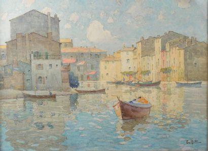 Ernest BERTHIER (1873-1967). Vue de port....
