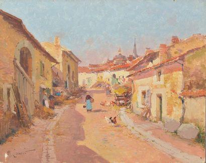 Maurice LENOIR (1872-1931). Rue de village...