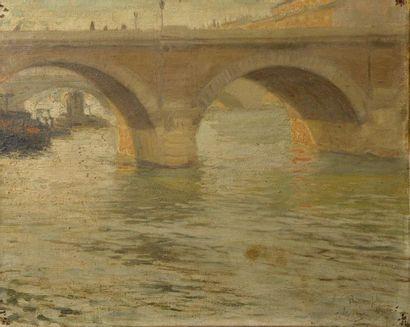 Paul Emile RIXENS (XIXe-XXe siècle). Vue du Pont-Marie. Huile sur toile signée et...