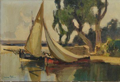 Lucien PÉRI (1880-1948). Barque au port....