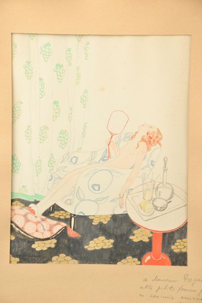 """Zygmunt Léopold BRUNNER (1878-1961) dit Zyg BRUNNER. """"30 degrés à l'ombre"""" Aquarelle..."""