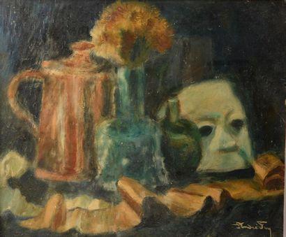André FOY (1886-1953). Nature morte aux vases et au masque. Huile sur papier contrecollée...