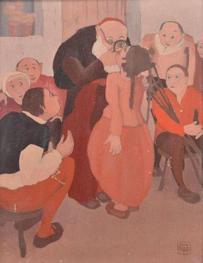 Pierre César LAGAGE (1911-1977). La visite chez le médecin. Huile sur carton signée...