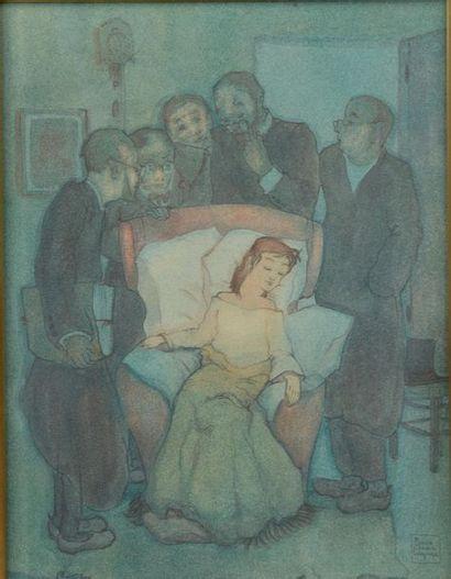 Pierre César LAGAGE (1911-1977). La malade. Mine de plomb et aquarelle signée en...