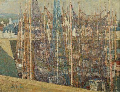 Joe LE FUR (1920-2001). «Bassin aux filets ». Huile sur toile signée en bas à gauche,...