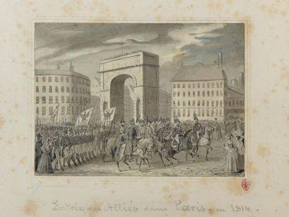 """Johann Baptist ZWECKER (1814-1876). """"Entrée des Alliés dans Paris, en 1814"""". Lavis..."""