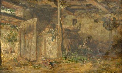 Alexandre René VÉRON (1826-1897). L'étable. Huile sur toile signée et datée 1859...