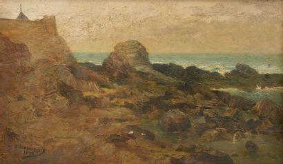 A. LAMOUREUX (XIXe - XXe siècle). Côte rocheuse à Saint-Marc. Huile sur toile signée...