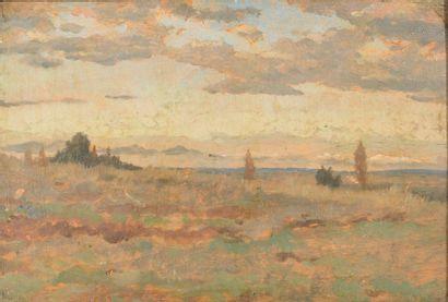 Daniel Ridgway KNIGHT (1839-1924). Paysage de plaine. Huile sur panneau monogarammée...