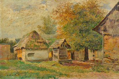 Alfred Marie LE PETIT (1876-1953). Cour de ferme. Huile sur toile, signée en bas...