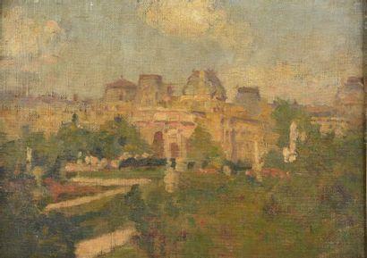 """Charles René DARRIEUX (1879-1958). """"Le Carrousel du Louvre"""". Huile sur toile contrecollée..."""