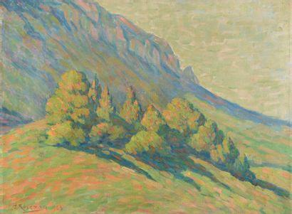 J.P. ROSEMAN (XXème siècle). Paysage de montagne. Huile sur toile signée et datée...
