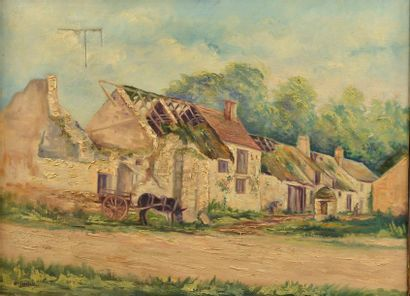 Gaston CORSELIS (?-c.1941). Paysage ; Cour de ferme. Deux huiles sur toile signées...