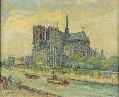 Gustave MADELAIN (1867-1944). Vue de Notre-Dame. Huile sur toile signée en bas à...