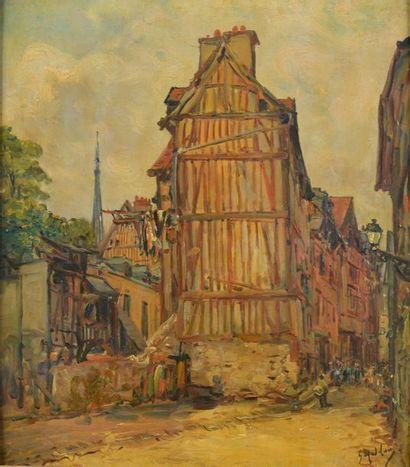 Gustave MADELAIN (1867-1944). Rue du rosier, vieux Rouen. Huile sur panneau d'acajou...