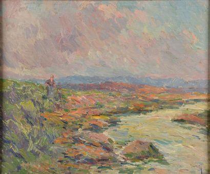 """Alexandre ISAÏLOFF (1869-?). """"Après l'orage"""". Huile sur panneau, étiquette de l'exposition..."""