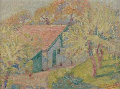 L. BARTHOLDI (XXe siècle). La ferme. Huile sur toile signée en bas à droite. Haut....