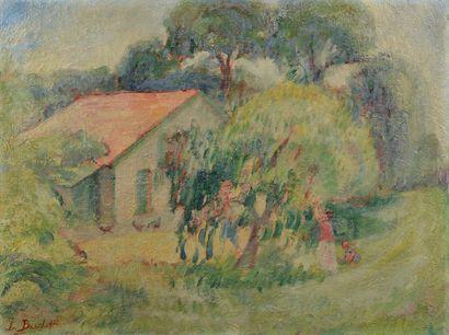 L.BARTHOLDI (XXe siècle). La cueillette. Huile sur toile signée en bas à gauche....