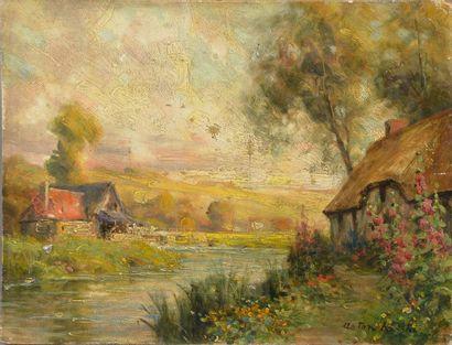 Louis Aston KNIGHT (1873-1948). Chaumières normandes devant une rivière. Huile sur...
