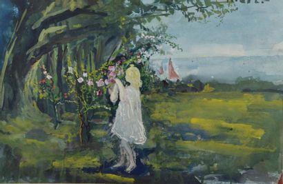 Pierre LAPRADE (1875-1931). Fillette au rosier, en arrière-plan voiliers naviguant....