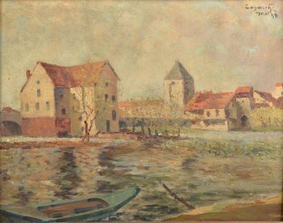 Prudent ZANAROFF (1885-1966). Vues de Moret-sur-Loing. Huiles sur panneau double...