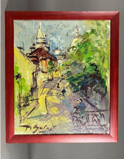 P. SU… Rue de Montmartre. Huile sur toile...