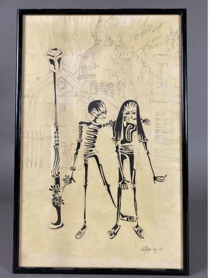 École du XXe siècle. Deux squelettes se promenant...